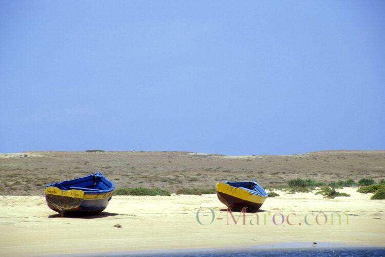 Les barques de Oualidia sur la plage