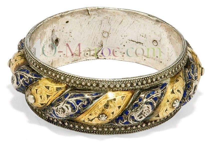 Très beau bracelet lune et soleil de Tétouan, fin du XIX°