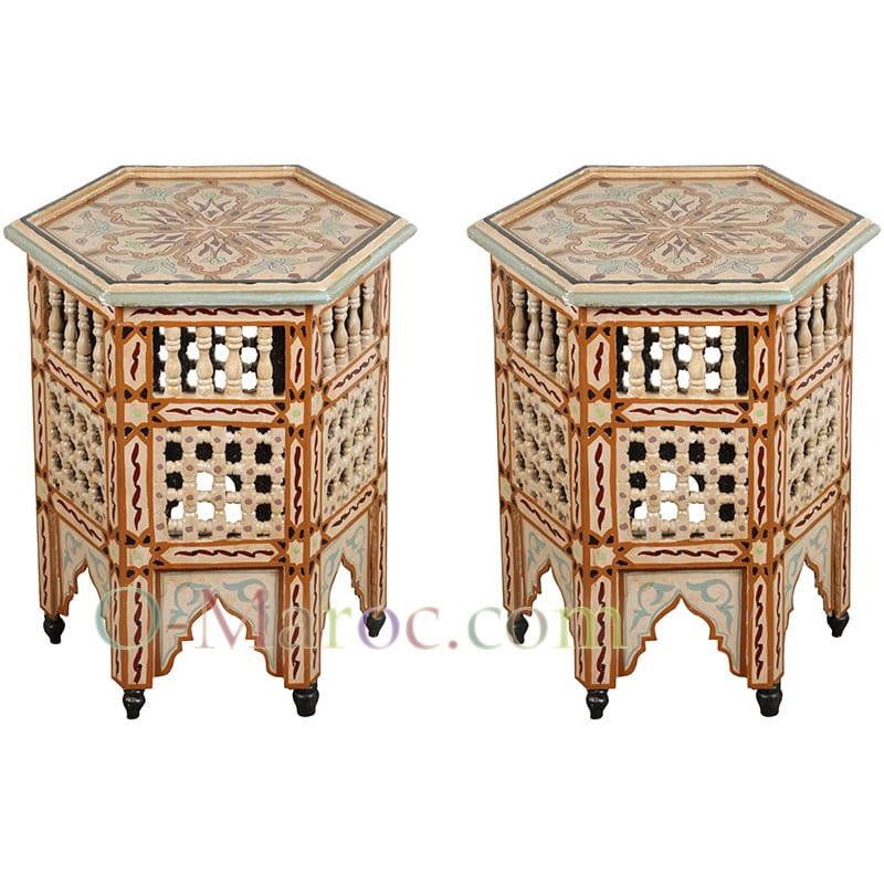 Paire tables basse bois peint