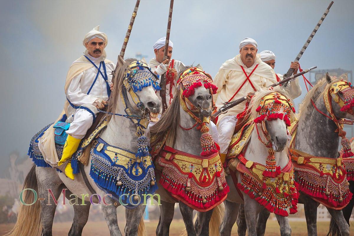 Cavaliers sur des chevaux richement harnachés