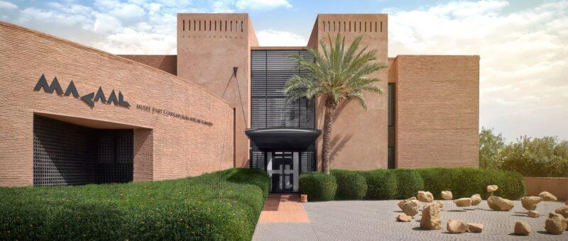 En briques rouges, l'entree du Musee art contemporain africain marrakech