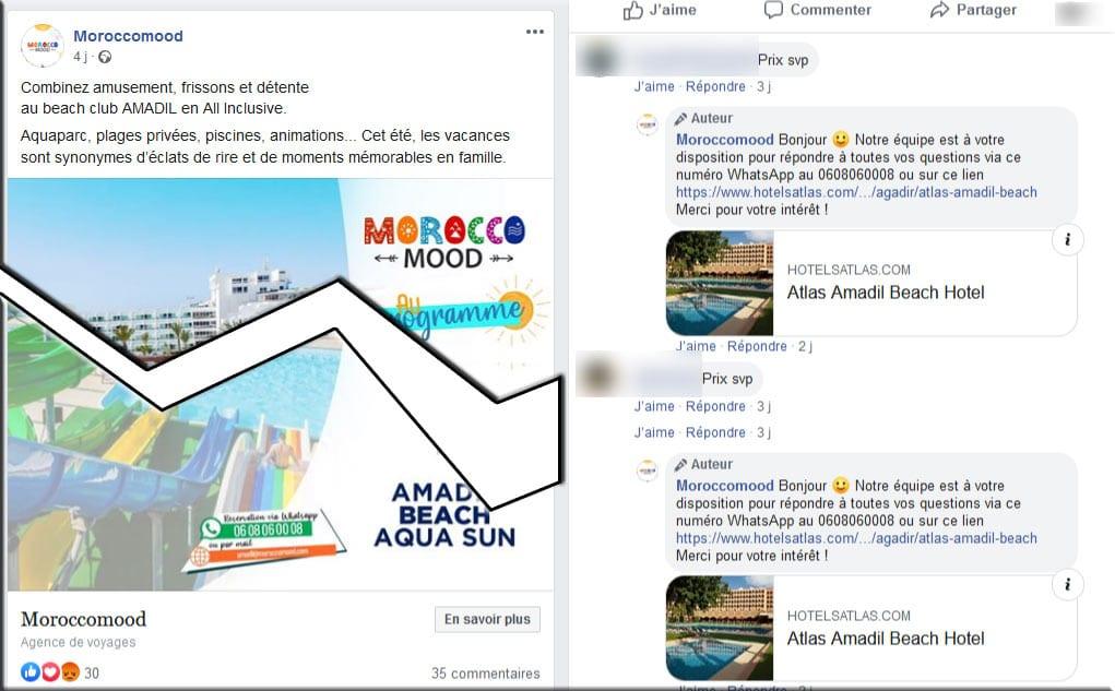 Screenshot de la page FB de MoroccoMood