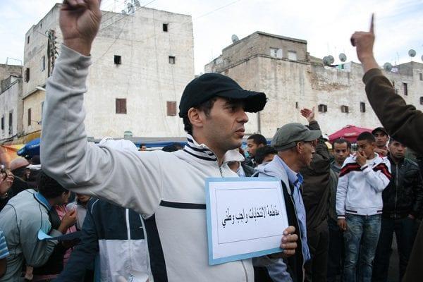 Photo de militants marocains appelant au boycott des élections