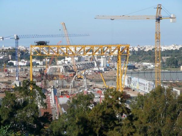 Vue générale du chantier du tramway à Rabat