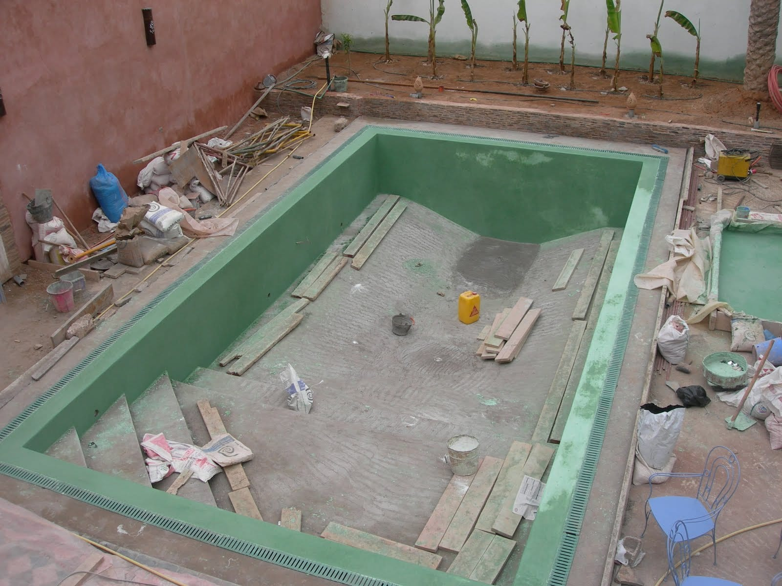 Construction de piscine dans un riad