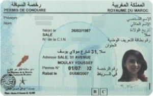 Spécimen de permis de conduire marocain