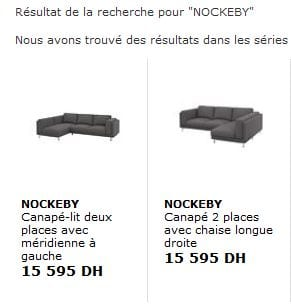 Copie écran du site Ikea Maroc