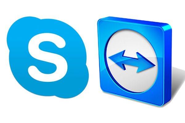 Logos Skype et TeamViewer