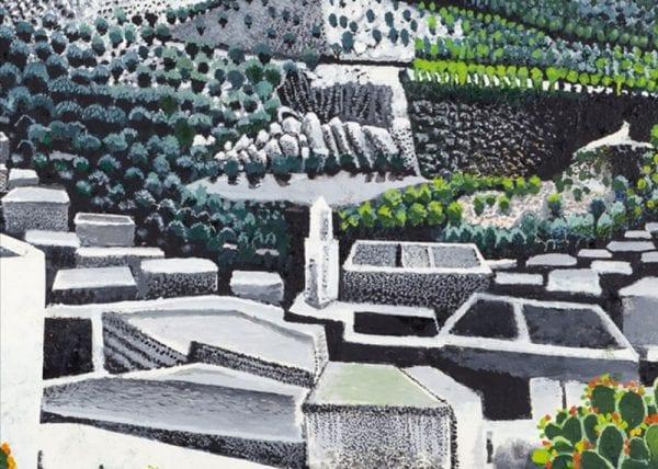 Tableau représentant un village arabe blanc et des champs verts